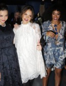 Miranda Kerr, Jessica Alba and Solange Knowles pose for photographers before H&M's Fall/Winter 2014-2015 women's ready-to-wear collection during Paris Fashion Week