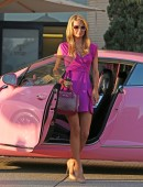 Paris Hilton seen at Barneys for some shopping wearing all pink driving her pink bentley in Los Angeles