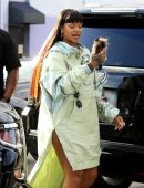 Rihanna Leggy, Arriving at Her Fenty and Puma Pop-up Store in Los Angeles