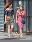 Hilary Duff and Sutton Foster on the Set of 'Younger' in NYC