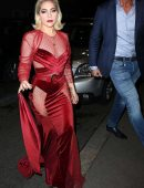 Lady Gaga in See-Through Red Dress Leaving her Hotel in Milan
