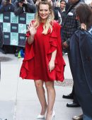 Hilary Duff in Red Dress Outside AOL Build in NYC