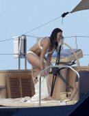 Michelle Rodriguez in White Bikini on a Yacht in Italy