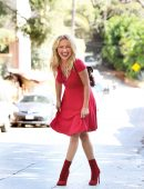 Hayden Panettiere Leggy in Red Dress, Out in Los Angeles