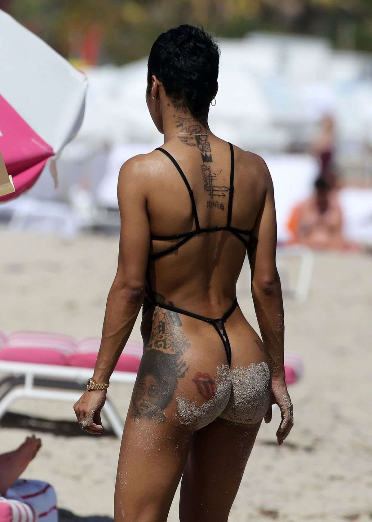 Teyana Taylor in Swimsuit at a Beach in Miami