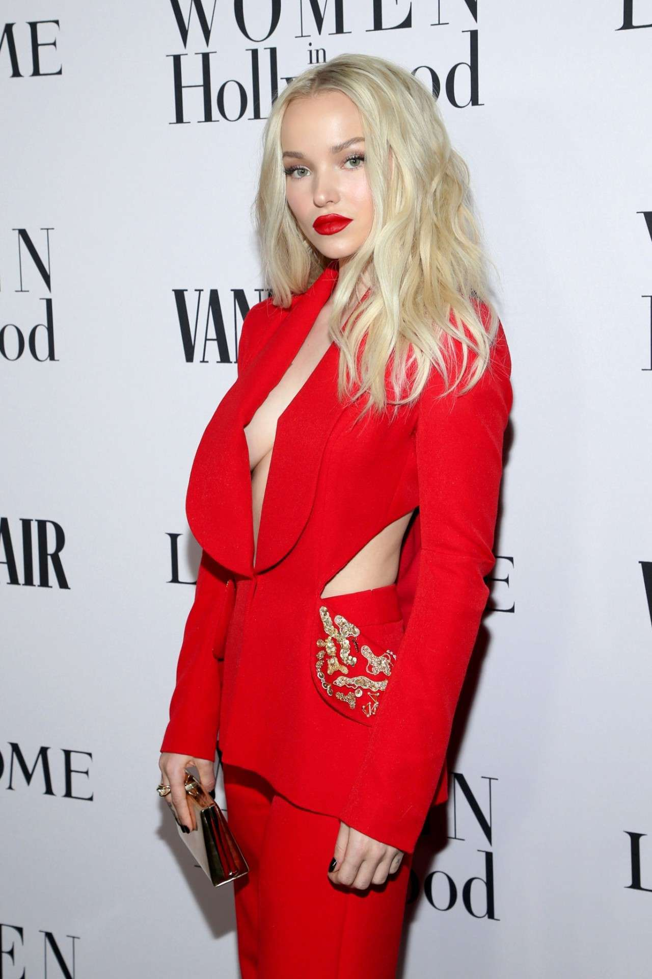 Dove Cameron Braless at Vanity Fair & Lancome Toast Women In Hollywood In Los Angeles