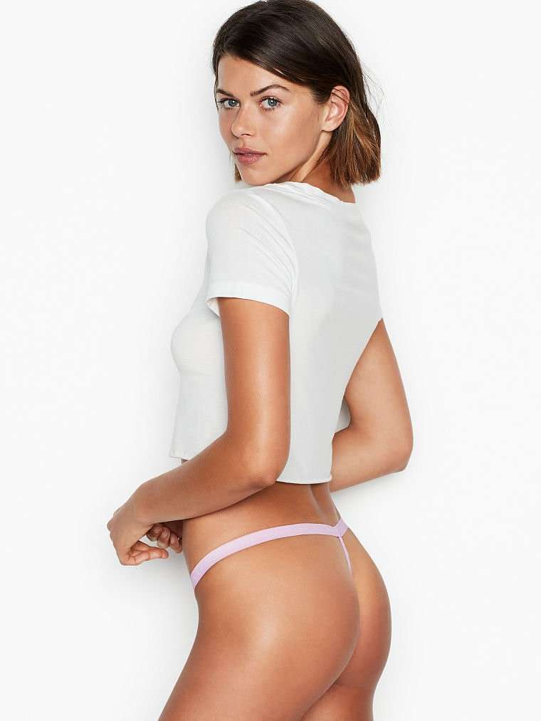 Georgia Fowler Ass in Thong for Victoria's Secret Lingerie Photoshoot 2020