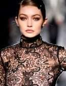 Gigi Hadid Nipples in See-Through Dress at Tom Ford AW20 Fashion Show in Hollywood