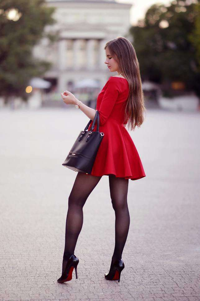 Ariadna Majewska in Red Dress and Black Tights for a Photoshoot