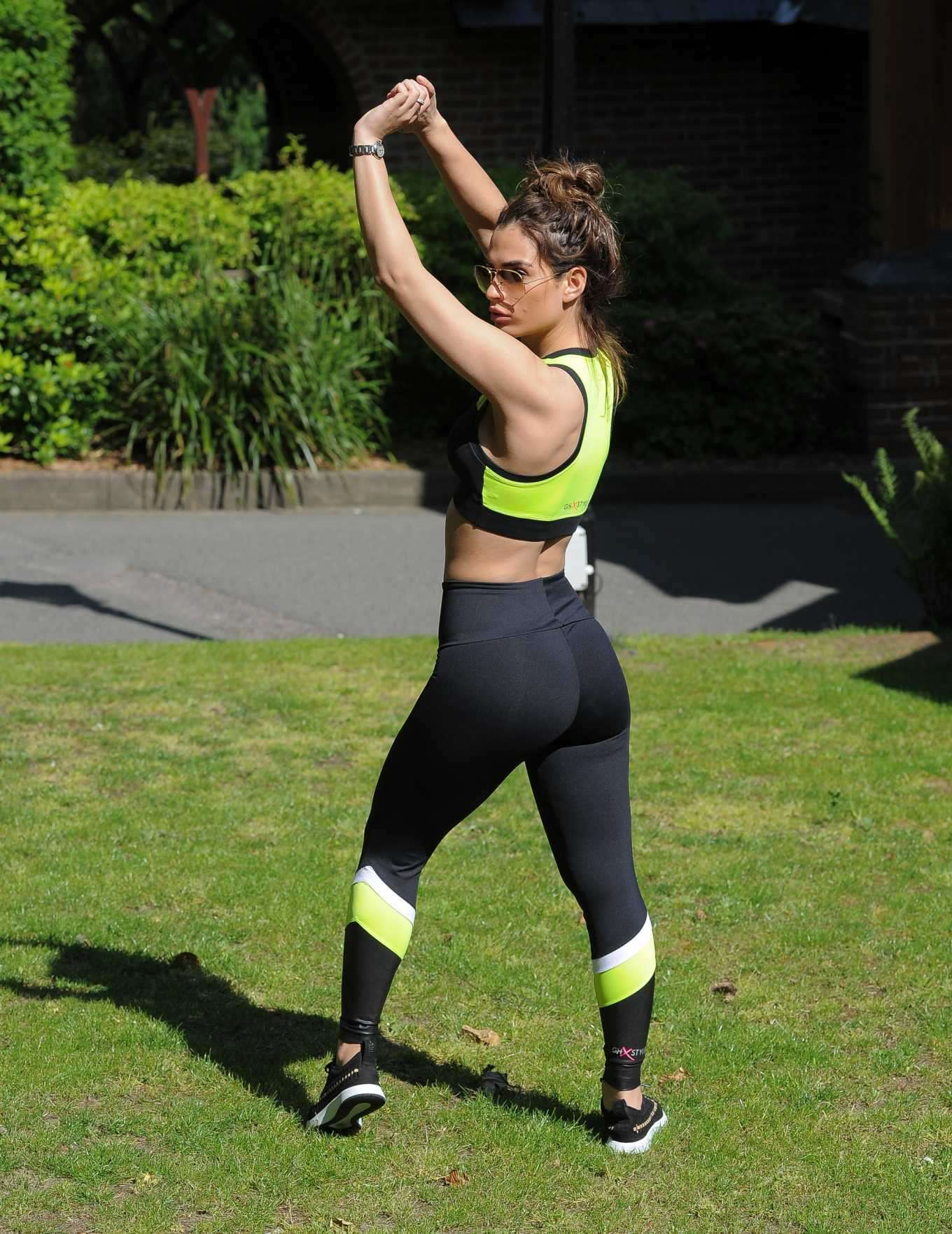 Nicole Bass Booty in Gym Outfit, Working Out in Essex
