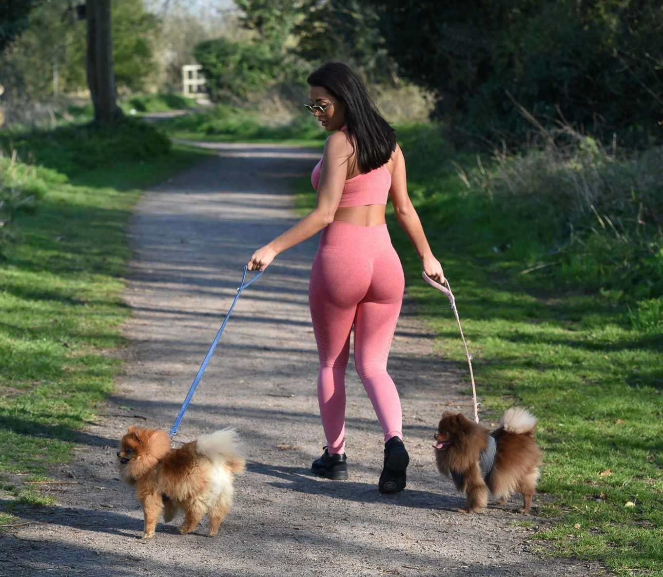 Yazmin Oukhellou Booty, Walking her Dogs in Harlow