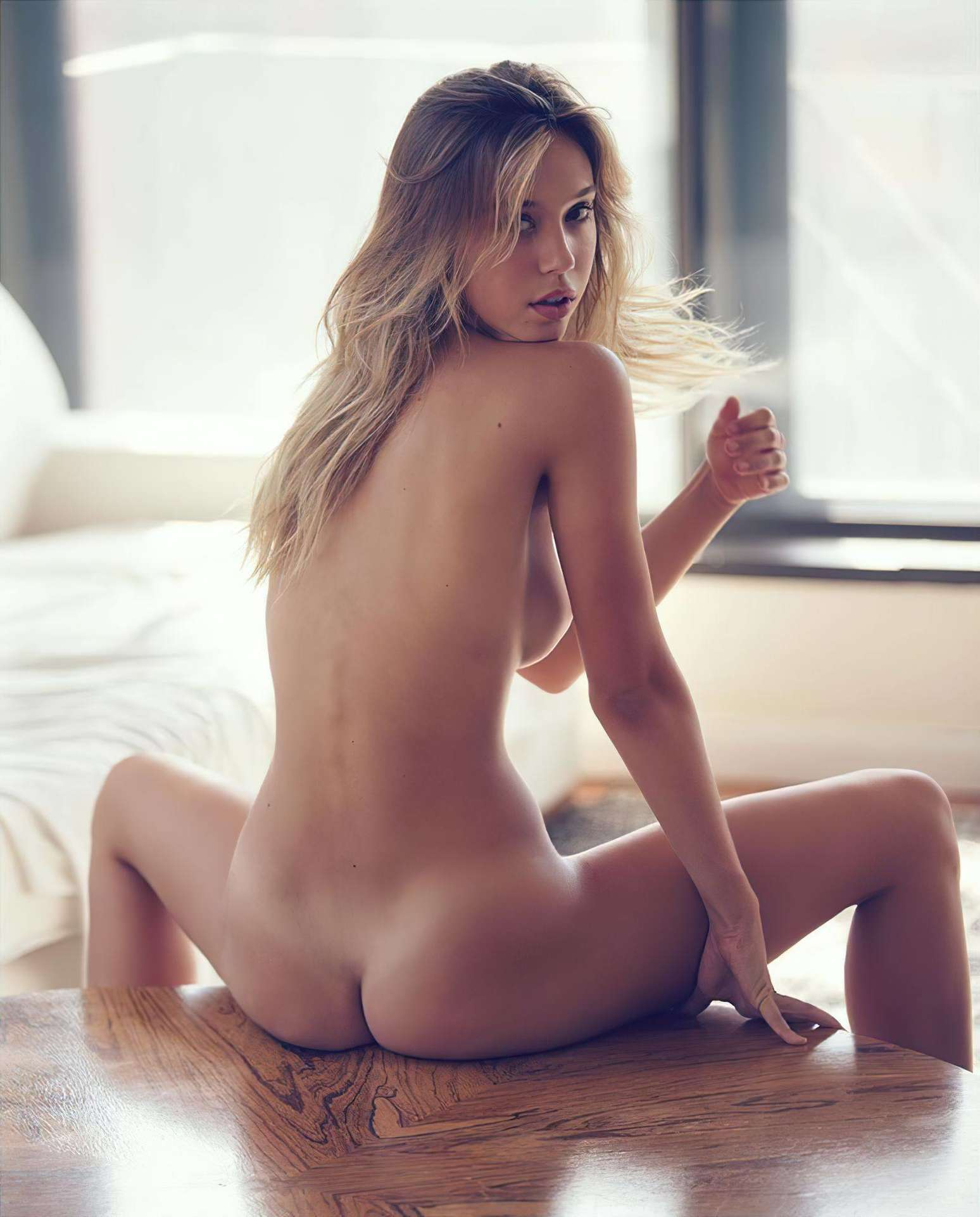 Alexis Ren Backless in Photoshoot by David Bellemere