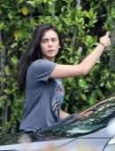 Nina Dobrev Carrying Furniture to a Car in Los Angeles