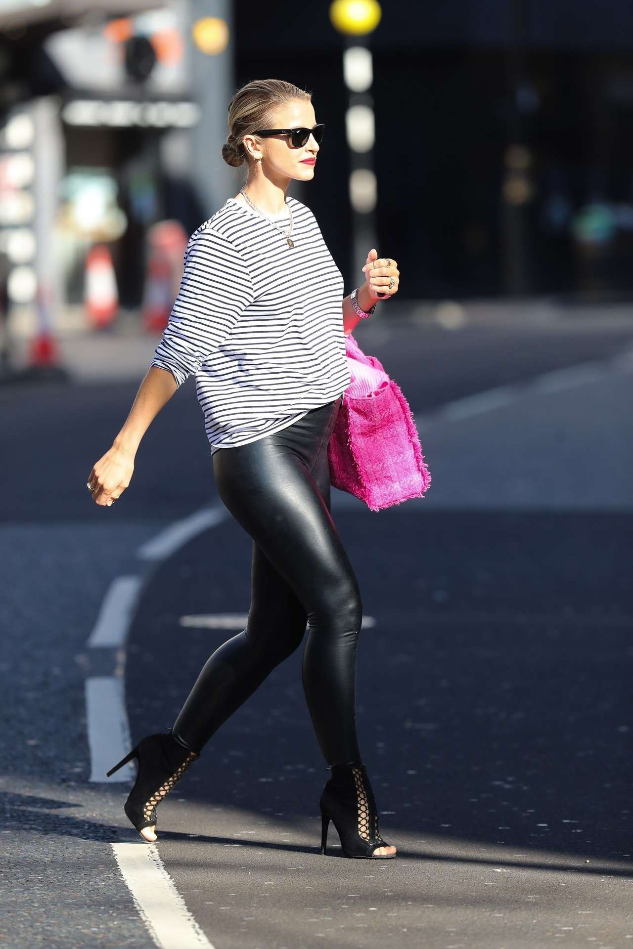 Vogue Williams in Leather Pants Outside Heart Radio Show in London