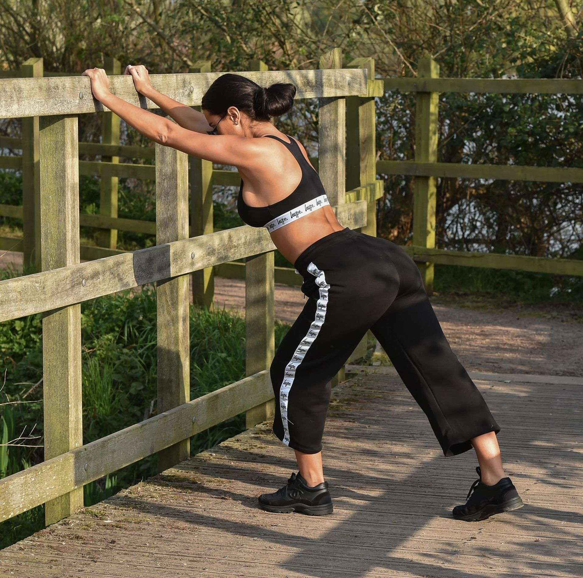 Yazmin Oukhellou Working Out in Morning in Essex