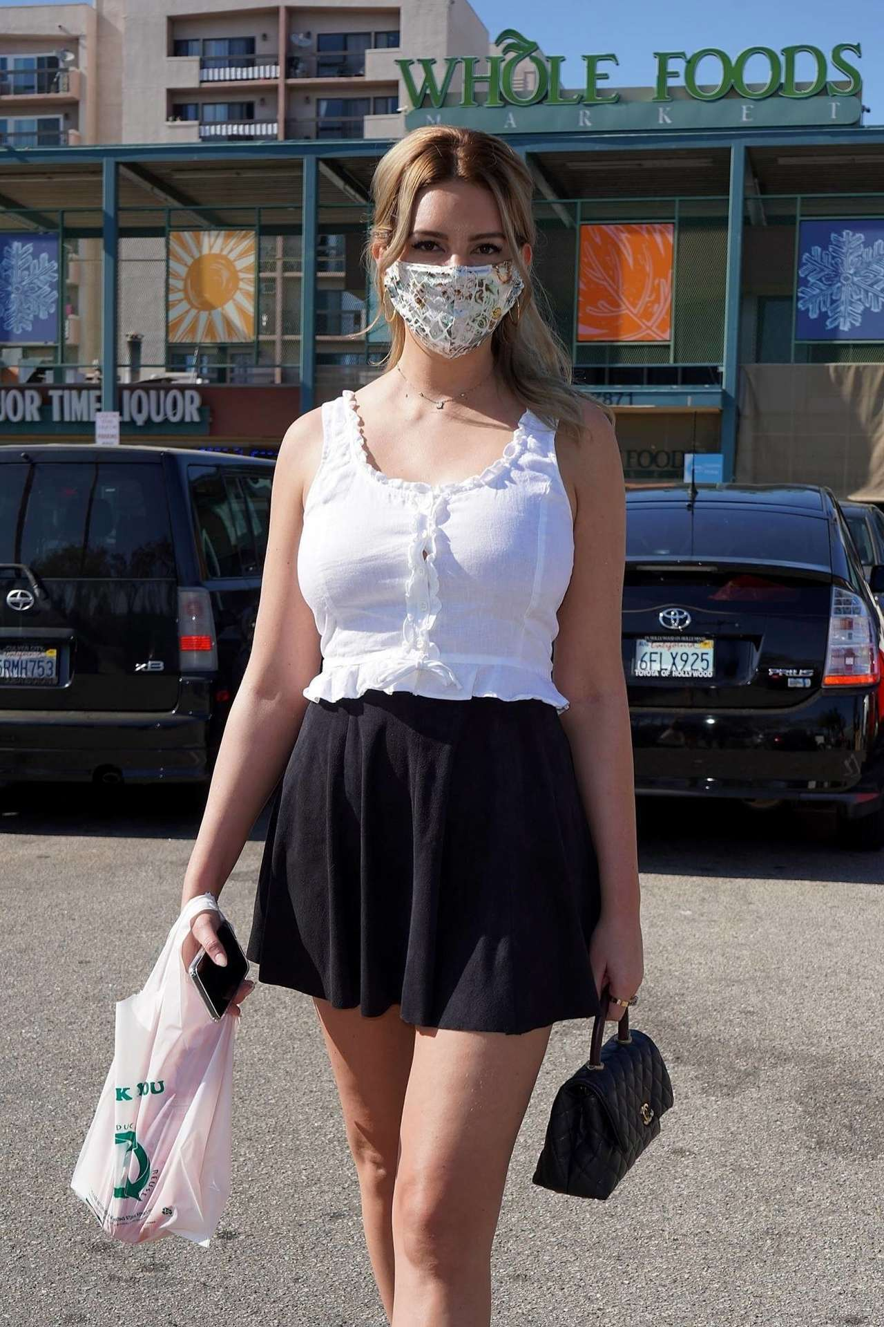 Zita Vass Leggy in Black Skirt at Whole Foods in West Hollywood