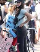 Eiza Gonzalez Booty in Black Jeans at a protest in West Hollywood