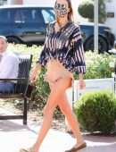 Alessandra Ambrosio Upskirt in Denim Shorts Out in Pacific Palisades