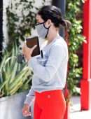 Lucy Hale Ass in Red Leggings, Out in Studio City
