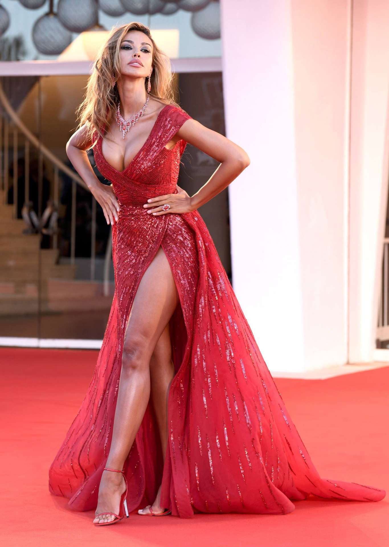"""Madalina Ghenea Leggy in Red Dress at """"Amants"""" Premiere in Venice"""