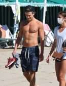 Taylor Marie Hill and Daniel Fryer at the Beach during the 2020 Venice Film Festival