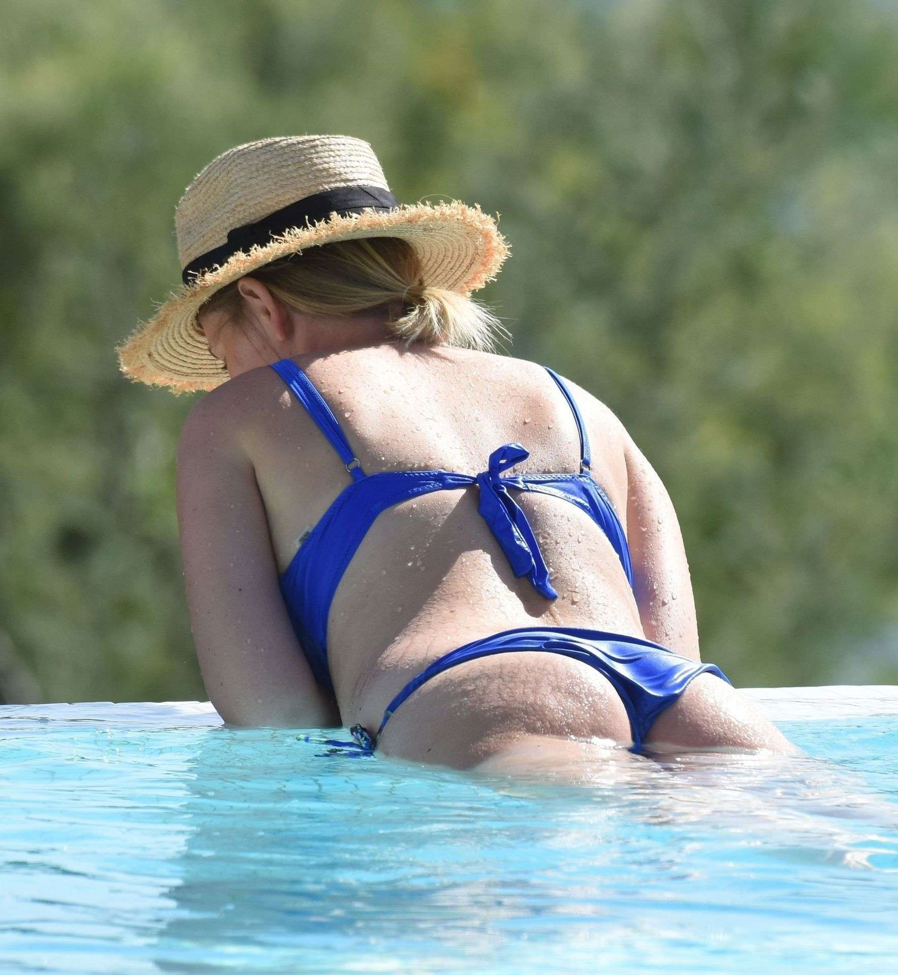 Amy Hart Booty in a Skimpy Blue Bikini Out in Portugal