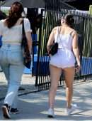 Charli XCX Booty Cheeks in Tiny Shorts Out in Los Angeles