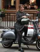 Amy Hart on the Set of Commercial for Velo Scooters in London