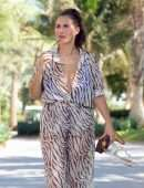 Chloe Goodman in a Zebra Print Jumpsuit out on Holiday in Dubai