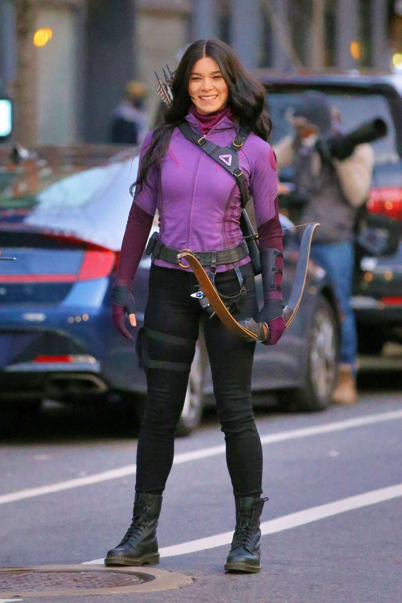 Hailee Steinfeld and Jeremy Renner on the Set of 'Hawkeye' in NYC