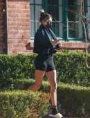 Hailey Baldwin Leaving a Private Pilates Class in Los Angeles