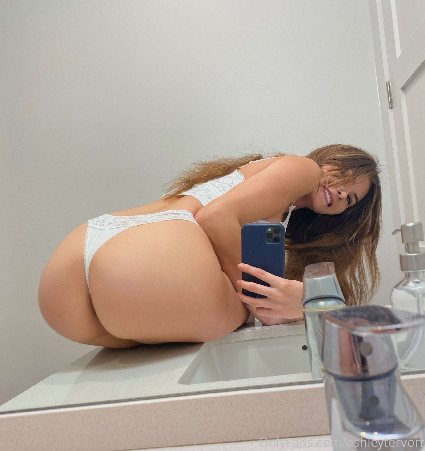 Ashley Tervort Booty and Cleavage in White Lingerie