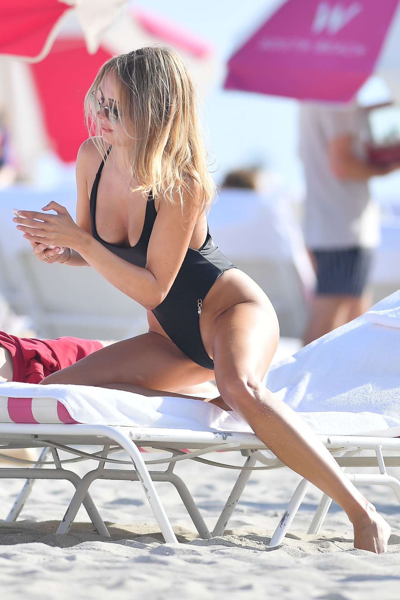 Kimberley Garner Booty in a Black Swimsuit at a Beach in Miami