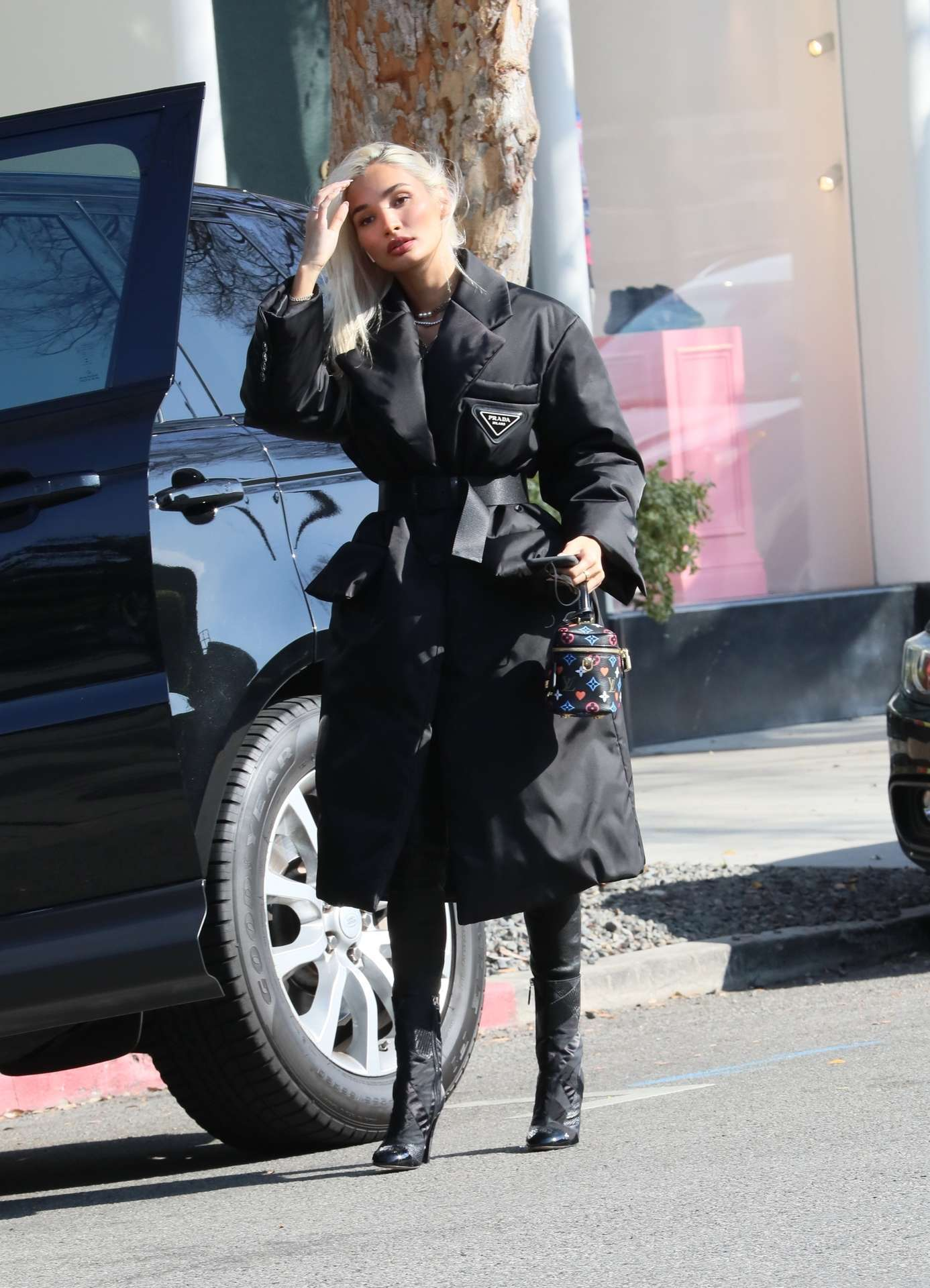 Pia Mia Booty in Leather Pants, Out and About in LA