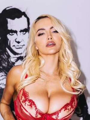 Lindsey Pelas Booty in a Sheer Red Lingerie