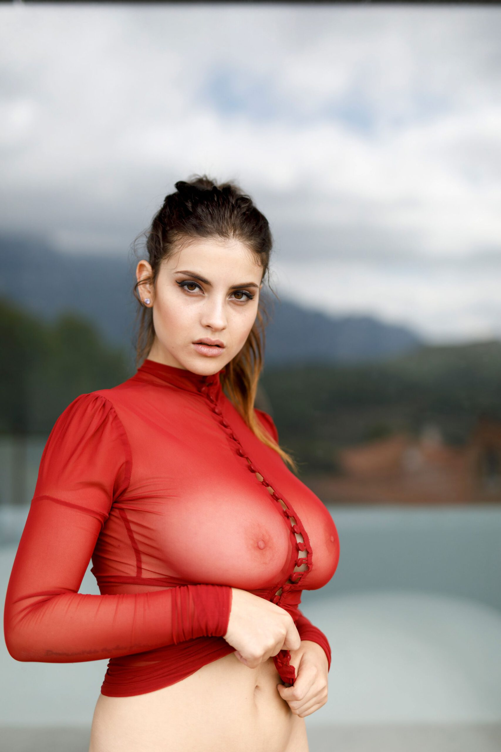 Judit Guerra Gorgeous in Red See-Through Dress Photoshoot